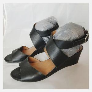 Lucky Brand black wedge ankle strap sandal